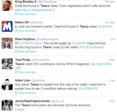 Tesco food quality issue generates jokes