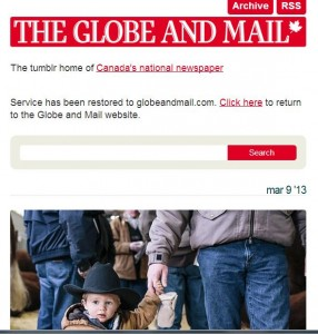 Globe and Mail Tumblr site helped in an outage