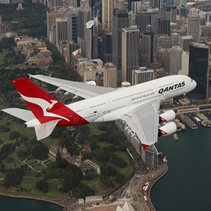 Qantas Airways plane UAE flyby