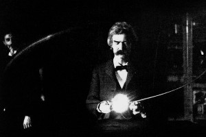 Mark Twain in Nikolai Tesla's lab