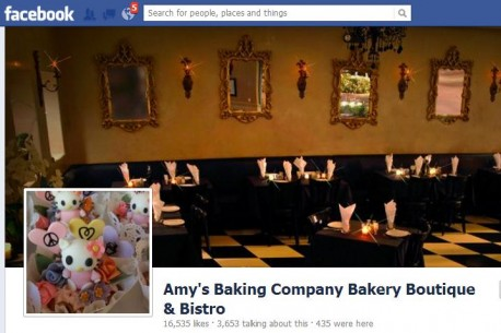 Amy's Baking Company Bakery Boutique & Bistro Facebook page: PR Fail meltdown